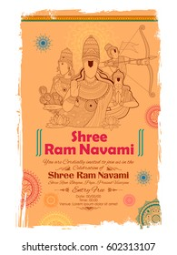 illustration of Lord Rama, Sita, Laxmana, Hanuman and Ravana in Ram Navami with hindi text Jai Shree Ram meaning Hail Lord Ram