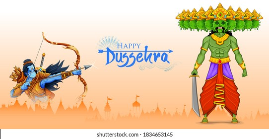 illustration of Lord Rama wearing mask killing Covid Ravana with ten heads of Corona virus for Navratri festival of India on Dussehra showing protection against the pandemic