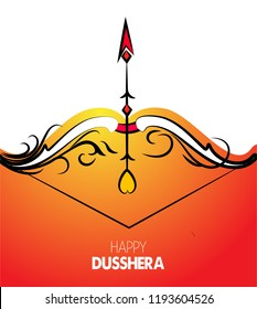 illustration of Lord Rama.vector illustration. Indian holiday happy dussehra.Lord Rama with bow arrow killing Ravan with Hindi text Dussehra, Navratri festival of India