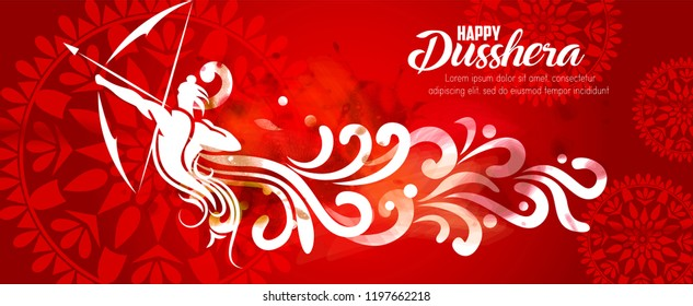 illustration of Lord Rama.vector illustration. Indian holiday happy dussehra.Lord Rama with bow arrow killing Ravan with Hindi text Dussehra, Navratri festival of India.
