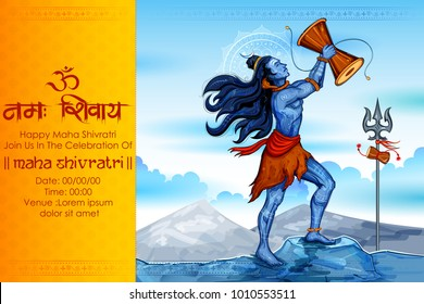 illustration of Lord Shiva, Indian God of Hindu for Shivratri or Mahashivratri with message Om Namah Shivaya meaning I bow to Shiva