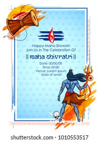 illustration of Lord Shiva, Indian God of Hindu for Shivratri or Mahashivratri