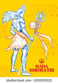 illustration of Lord Shiva, Indian God of Hindu for Shivratri or Mahashivratri with message Om Namah Shivaya meaning I bow to Shiva
