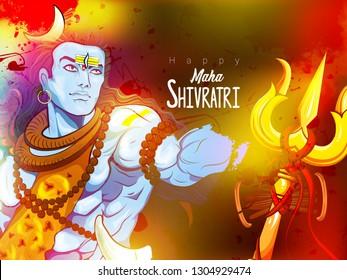 illustration of Lord Shiva, Indian God of Hindu for Shivratri with trisula,rudraksha,colourful background