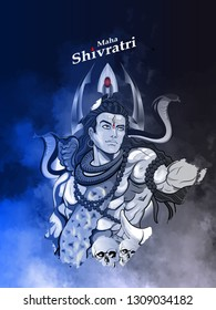 illustration of Lord Shiva, Indian God of Hindu for maha Shivratri with elagant backgroung and trishul