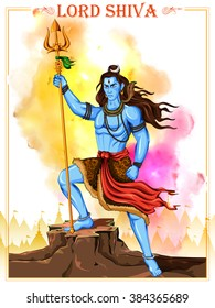 illustration of Lord Shiva, Indian God of Hindu for Shivratri or Mahashivratri holiday