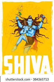 illustration of Lord Shiva, Indian God of Hindu with mantra Om Namah Shivaya ( I bow to Shiva ) for SHivratri or Mahashivratri festival
