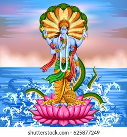 illustration of Lord Vishnu standing on lotus giving blessing