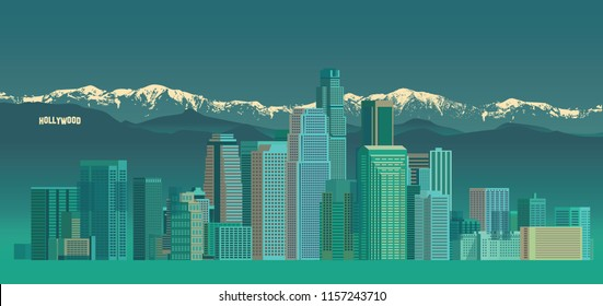 An illustration of Los Angeles cityscape / skyline with snow mountain and Hollywood sign on the background. The landmark buildings stand as focal point in the landscape.