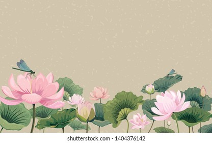 Illustration with lotus flowers and dragonflies
