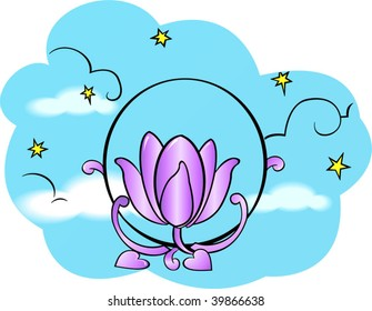 Illustration of lotus with sky background