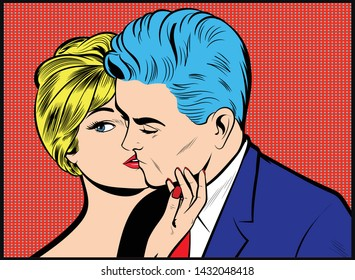 Illustration - Love couple. Pop Art love, Valentines day postcard, poster. Comic book style. Blonde Mistress seducing man
