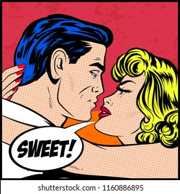 Illustration of Love Kissing Couple - Valentines day postcard. Hollywood movie scene, first date kiss, movie poster. Comic book retro vector Pop Art style