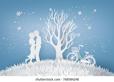 Illustration of Love ,Lovers are hugging  In a meadow with tree without leave In the Winter and Christmas season. Paper art and  digital craft style.