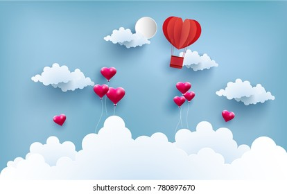 illustration of love symbol with art design and paper craft. there are balloons and hot air balloons as a symbol of love. Happy Valentine Day