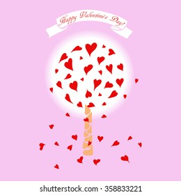 """Illustration of love tree with red hearts, which symbolize the leaves, with the inscription """"Happy Valentine's Day."""" Vector graphics. For greeting cards, advertising and banners."""