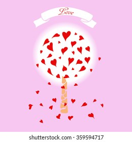 Illustration of love tree with red hearts, which symbolize the leaves. Vector graphics. For greeting cards, advertising and banners.