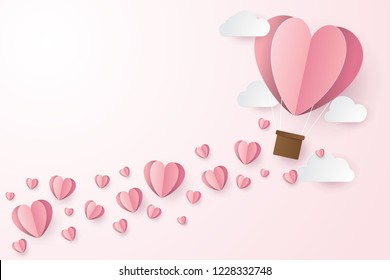 illustration of love and valentine day with balloon heart, and clouds. Paper cut style. Vector illustration