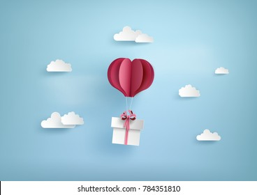 Illustration of love and valentine day, balloon heart shape hang the  gift box float on the sky.paper art and digital craft style.