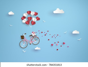 Illustration of love and valentine day, balloon heart shape hang the  pink bicycle float on the sky.paper art and  digital craft style.