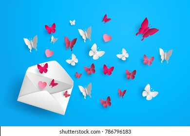 Illustration of Love and Valentine day Butterfly fly out of the envelope. Paper art and  digital craft style.