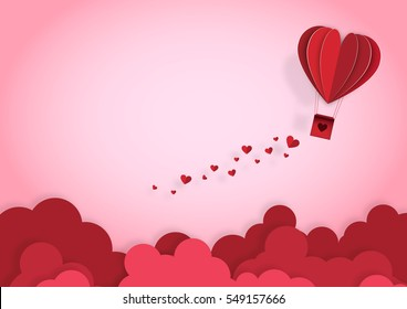 Illustration of love and valentine day, Origami made hot air balloon flying