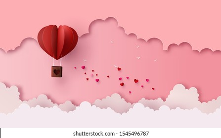 illustration of love and valentine day,Origami made hot air balloon flying on the sky with heart float on the sky. paper cut art style.