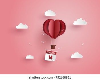 illustration of love and valentine day,Origami made hot air balloon flying on the sky y.paper art style.