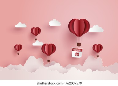 illustration of love and valentine day,Origami made hot air balloon float on the sky.paper art and  digital craft style.