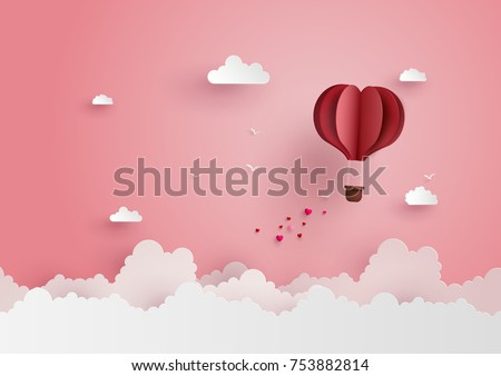 illustration of love and valentine day,Origami made hot air balloon flying on the sky with heart float on the sky.paper art and  digital craft style.