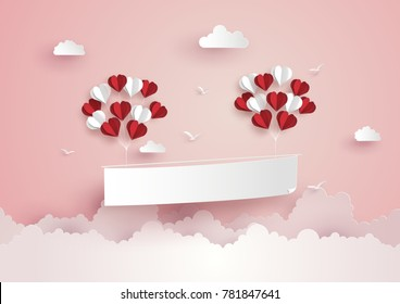 Illustration of Love and Valentine Day,Paper hot air balloon heart shape floating on the sky , Paper art and  digital craft style.