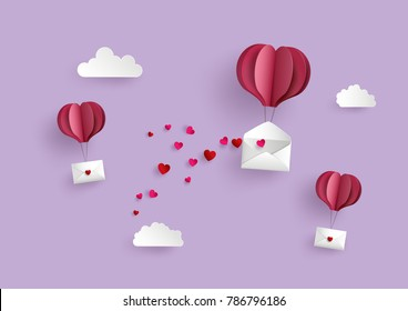 Illustration of Love and Valentine Day,Paper hot air balloon heart shape hang envelope floating on the sky , Paper art and digital craft style.
