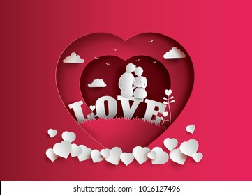 Illustration of love and valentine's Day  with couple sitting on word LOVE in the field .paper art and digital craft style.