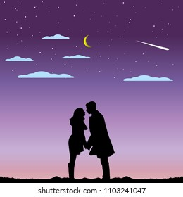 Illustration of love and valentine's Day with couple silhouette and half moon
