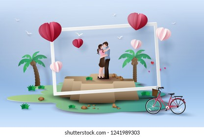 Illustration of love and valentine's Day,  with couple standing hugging on  rok with red  bicycle, paper art 3D  digital craft style.