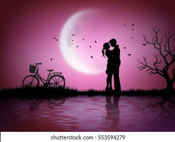 Illustration of love and valentine's Day  with couple silhouette  and half moon.