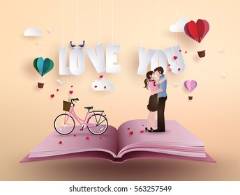 Illustration of love and valentine's Day, with couple standing hugging on open book with pink bicycle .paper art and  digital craft style.