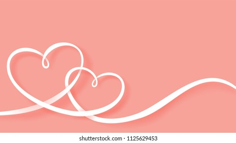 Illustration of love and valentines day. Hearts ribbon in paper art style vector pink background