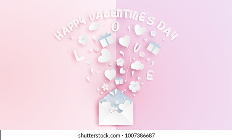 illustration of love in valentine's day. Paper art of open the envelope on Valentine's Day with many gifts on pink book background.  Paper art and craft style. vector, illustration.