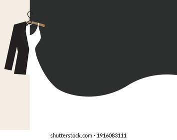 illustration of love and wedding day, vector, paper cut art style