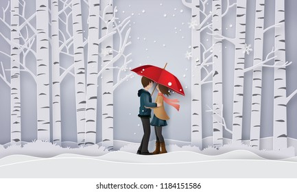 Illustration of Love and winter season ,Lovers are hugging  in the forest with snow. Paper art and craft stlye.