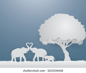 Illustration of love,Elephants family show the Love on the gray grass in spring season,paper craft style.
