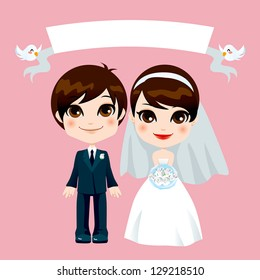 Illustration of lovely sweet couple wedding with empty banner held by flying birds