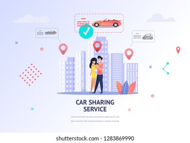 Illustration Loving Couple Tearing Out Car Weekend. Banner Vector Man and Woman Hugging. Guy Uses Car Sharing Service Mobile App to Select Car for Rent Romantic Trip. Transport to Customer Location