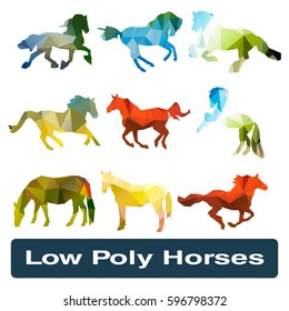 Illustration with low poly horses collection on white background. Set of polygonal horses on white background.