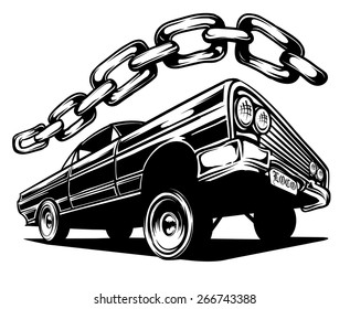 An Illustration of a Low Rider Car and a Chain