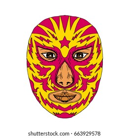 Illustration of a Luchador Mask with Star and Lightning Bolt viewed from front done in Drawing hand-sketched style on isolated background
