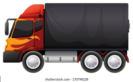 Illustration of a luggage truck on a white background