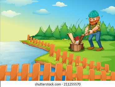 Illustration of a lumberjack chopping wood