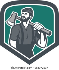 Illustration of a lumberjack holding an axe on shoulder looking up to side set inside shield crest shape done in retro style.
